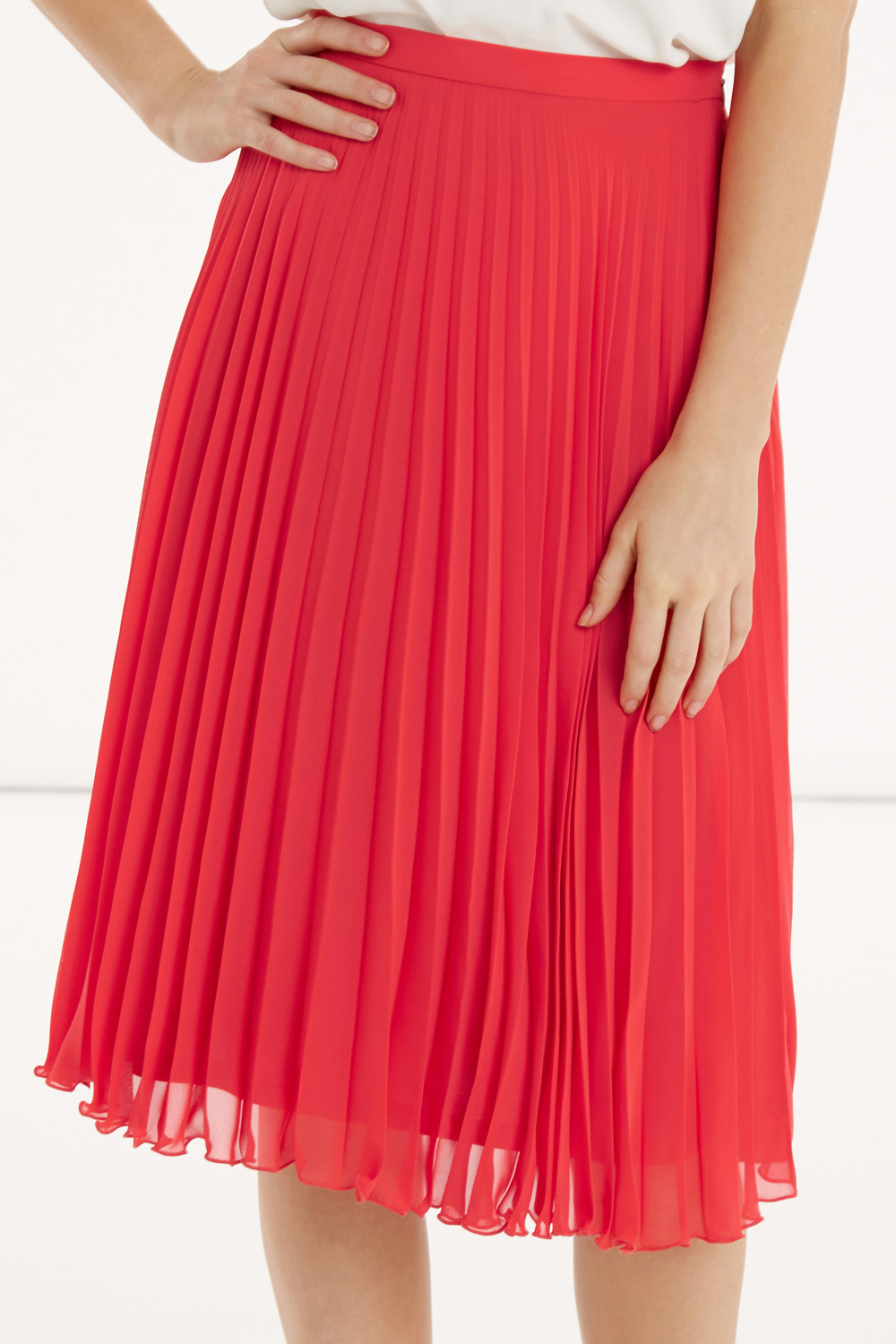 Pleated Red Skirt - Skirts