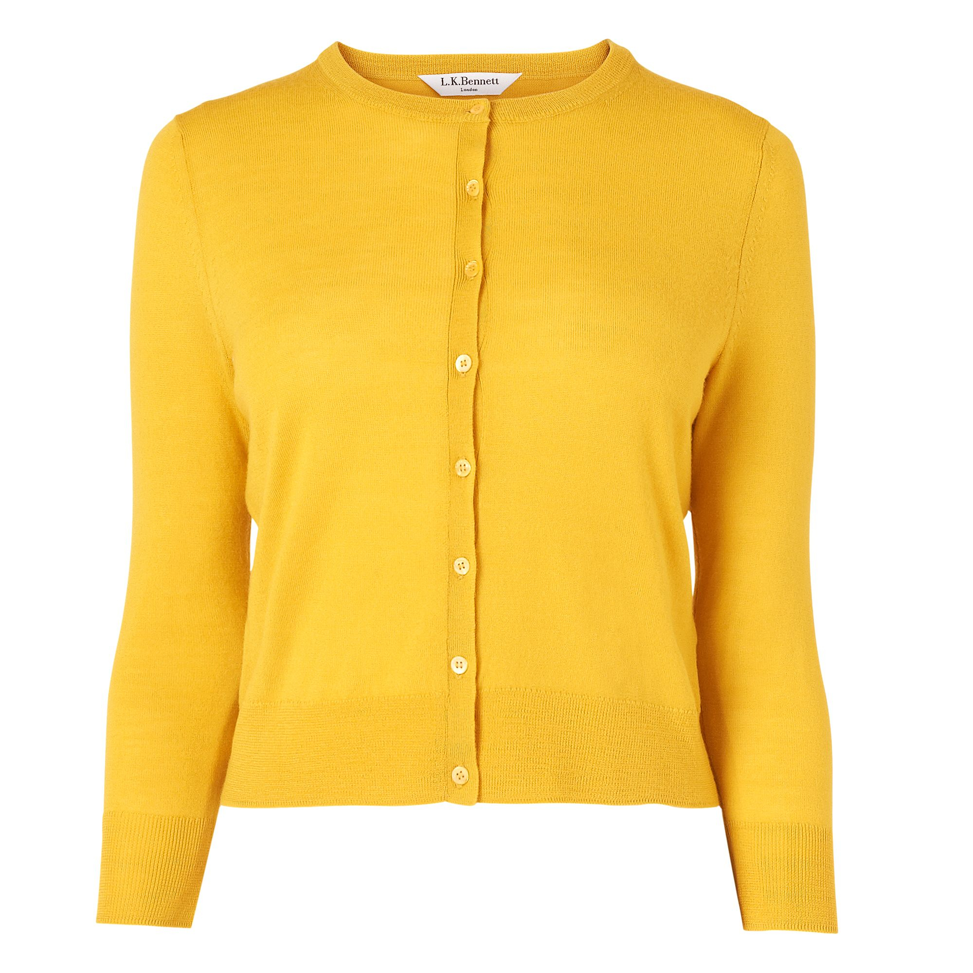 L.k.bennett Bonnie Crew Neck Cardigan in Yellow | Lyst