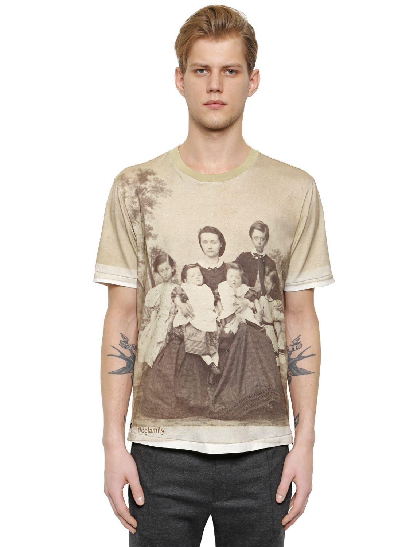 lyst dolce gabbana family portrait cotton t shirt in. Black Bedroom Furniture Sets. Home Design Ideas