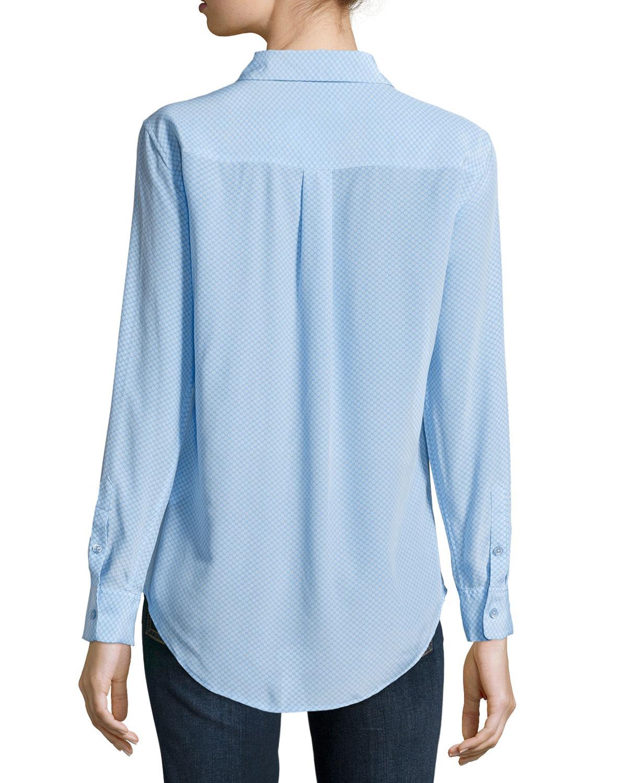 Equipment slim signature silk circle print blouse in blue for Equipment signature silk shirt