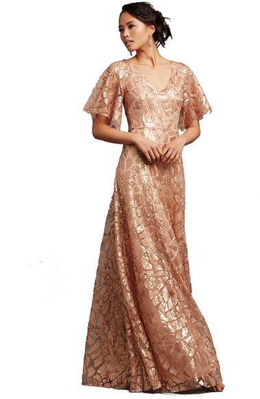 Lyst - Donna morgan \'camilla\' Sequin Flutter Sleeve Gown in Metallic