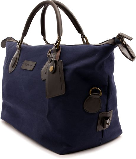 Barbour Navy Blue Canvas Leather Weekend Bag in Blue for Men (navy)