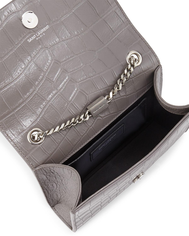 5009ff8091f7 Saint Laurent Monogram Croc-embossed Tassel Crossbody Bag in Gray - Lyst