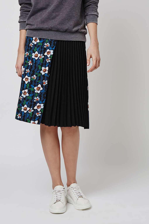 topshop flower pleat panel midi skirt lyst