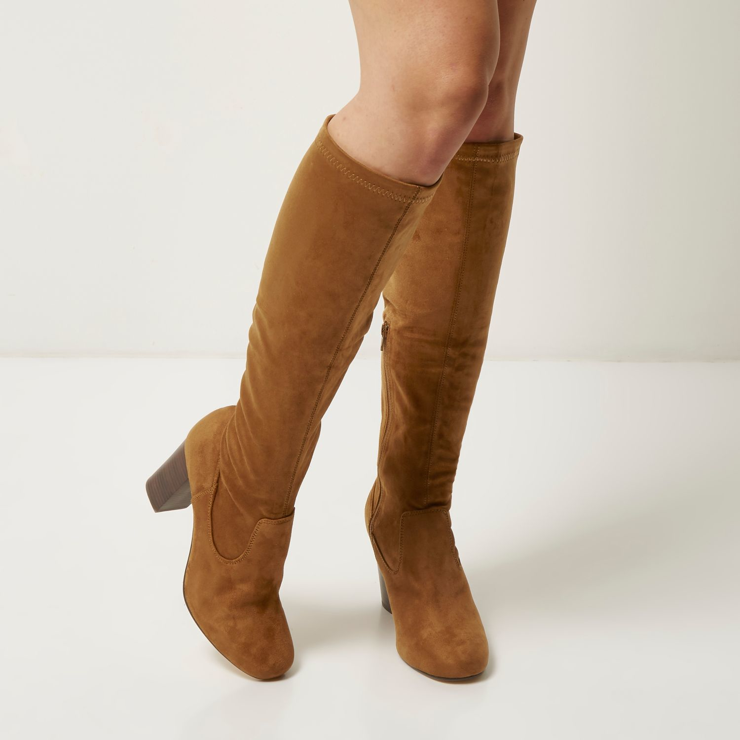 252346e59cd23 Lyst - River Island Tan Faux Suede Heeled Knee High Boots in Brown