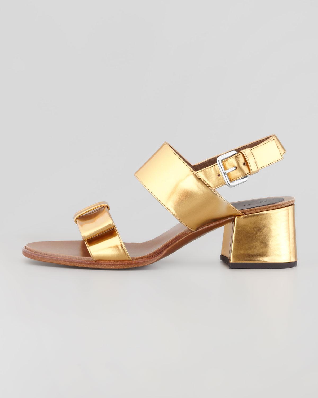 dad294976ffe Lyst - Marni Metallic Lowheel Bow Sandal Gold Sand in Metallic