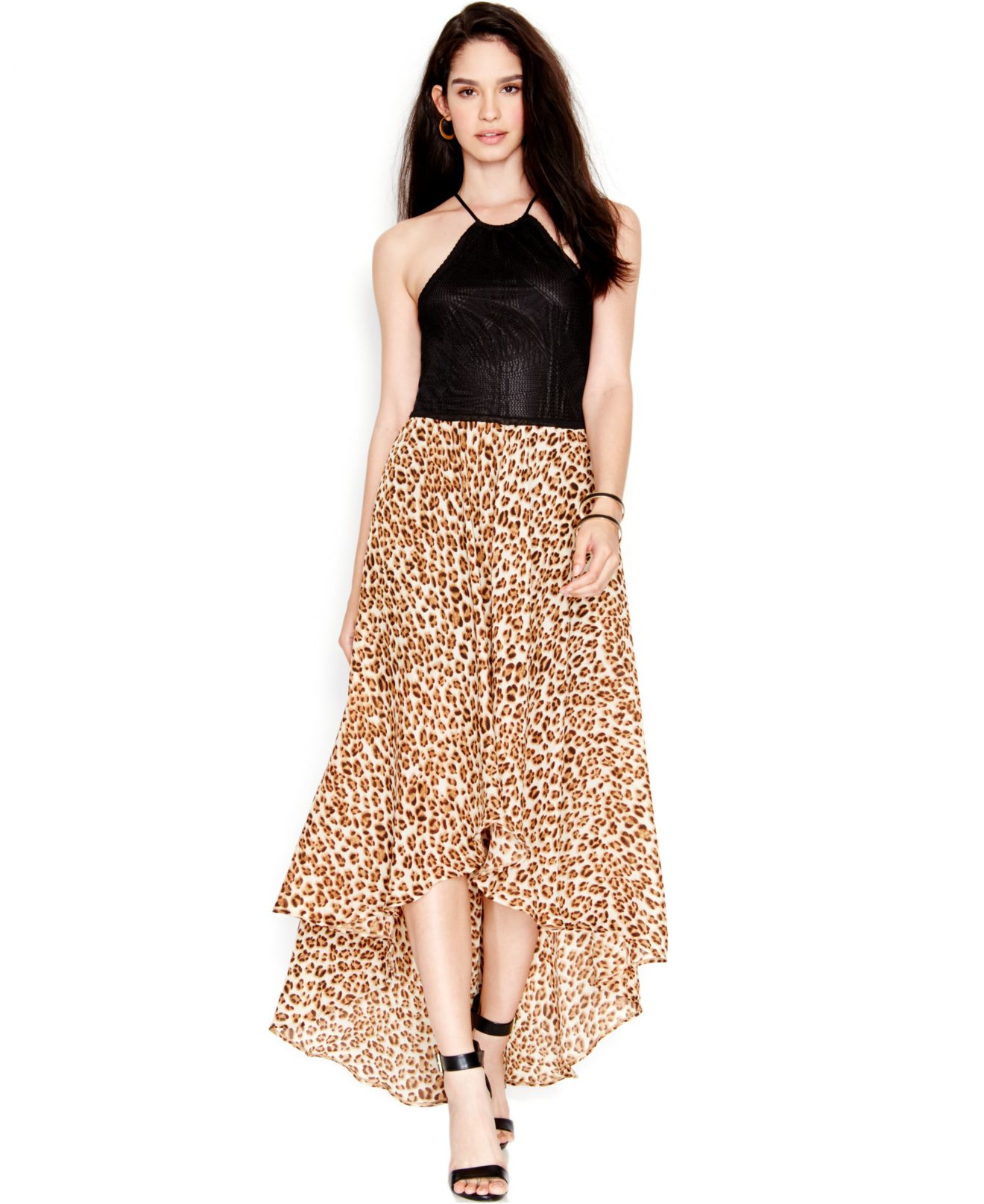 Guess Animal-print Contrast Maxi Dress in Brown | Lyst