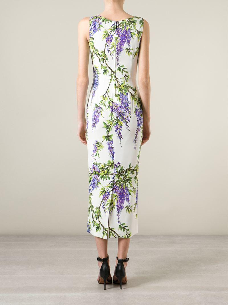 Lyst Dolce Amp Gabbana Wisteria Print Dress In Purple