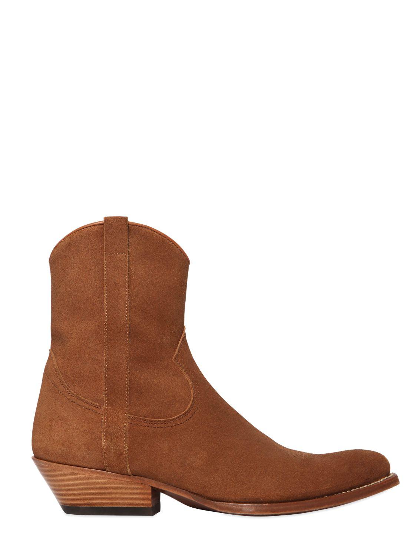 Lyst Saint Laurent 40mm Santiag Suede Cowboy Boots In Brown