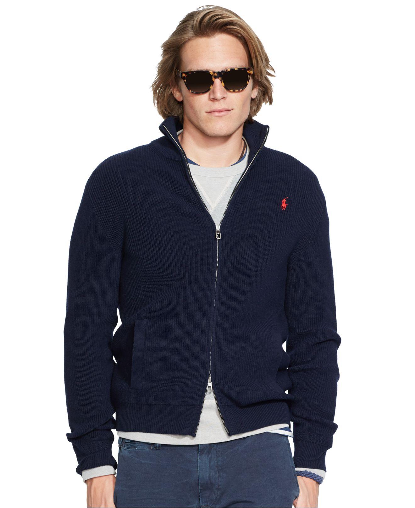 4c2e9d01f ... coupon lyst polo ralph lauren lightweight full zip sweater in blue for  men 572d0 c9009