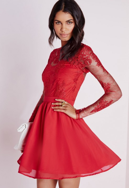 Sleeved Long red dress pictures advise to wear for autumn in 2019