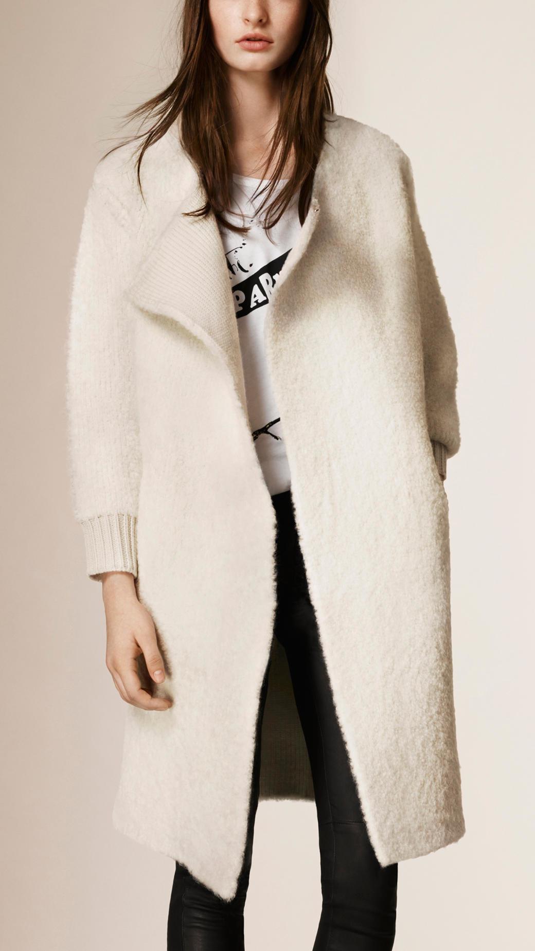 Burberry Wool Alpaca Cashmere Cardigan Coat in Natural | Lyst