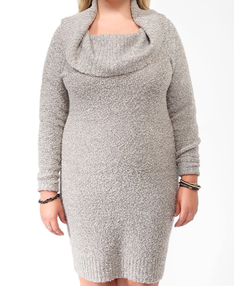 Forever 21 Plus Size Boucle Cowl Sweater Dress You've Been Added ...