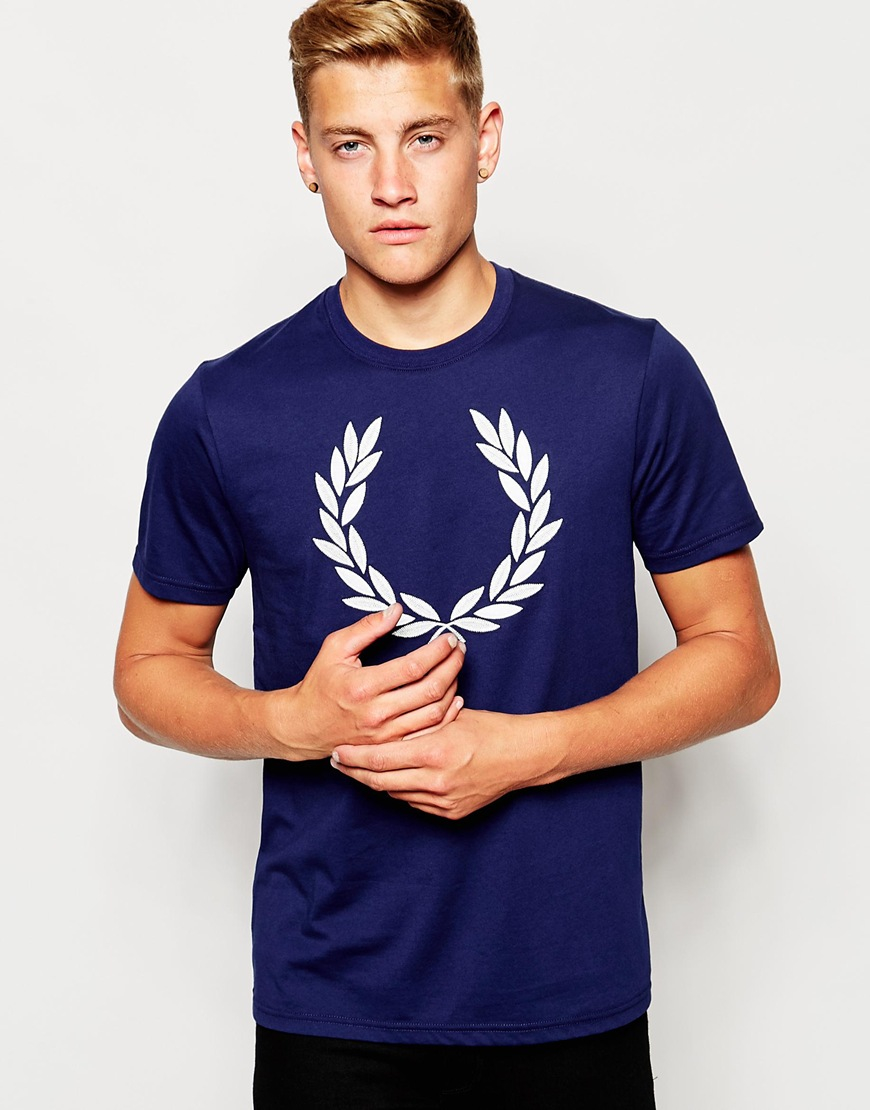 lyst fred perry t shirt with laurel wreath logo in french navy in blue for men. Black Bedroom Furniture Sets. Home Design Ideas
