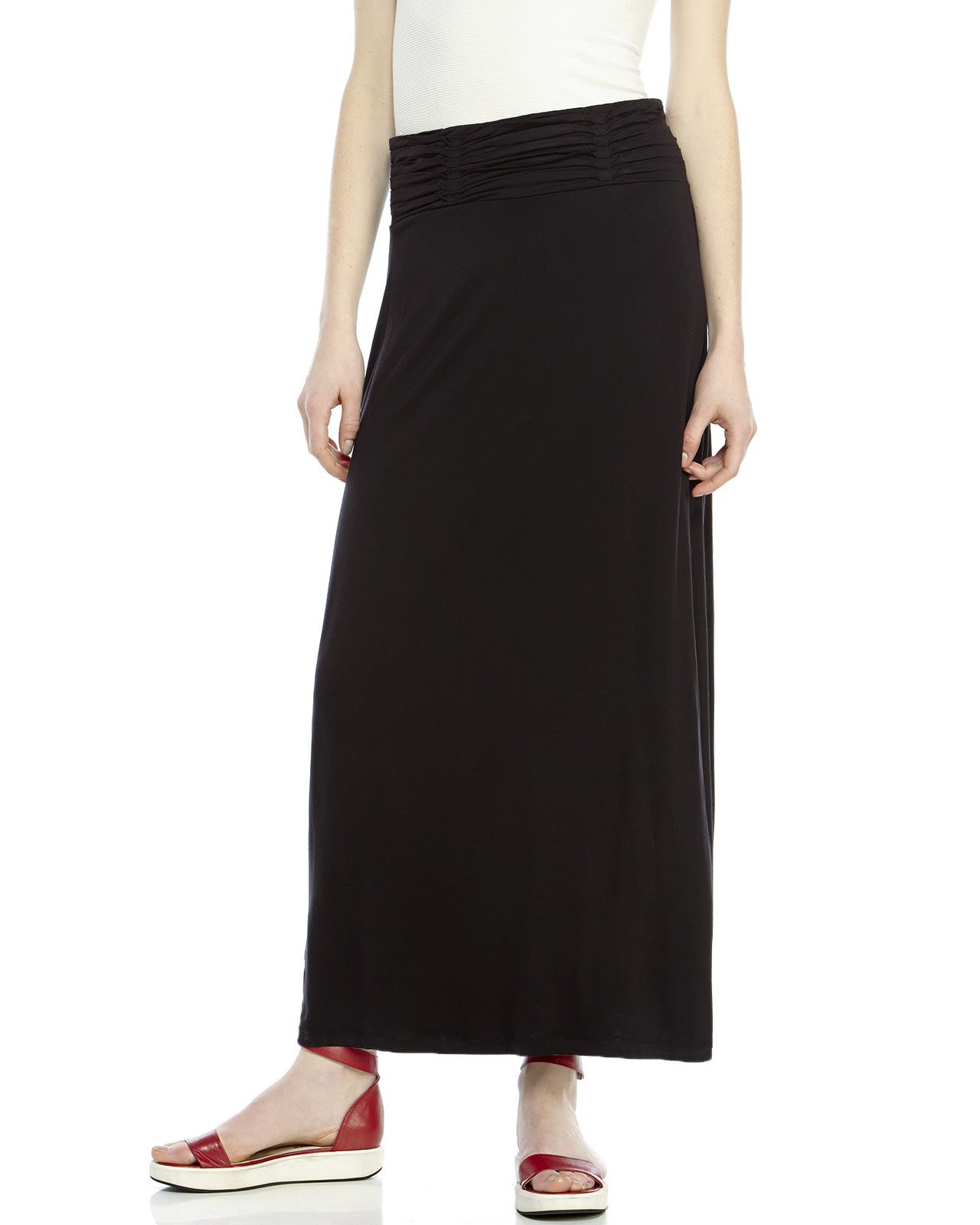 max studio black pleated waist maxi skirt in black