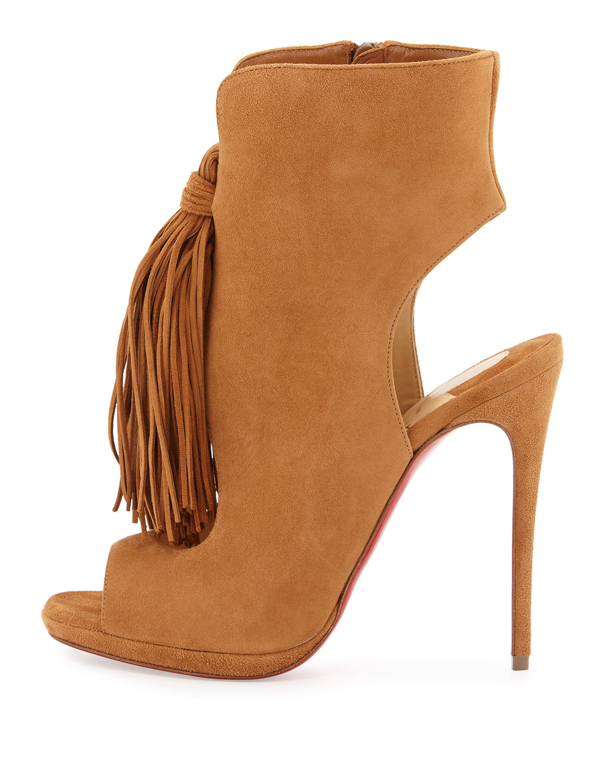 christian louboutin beige suede boots