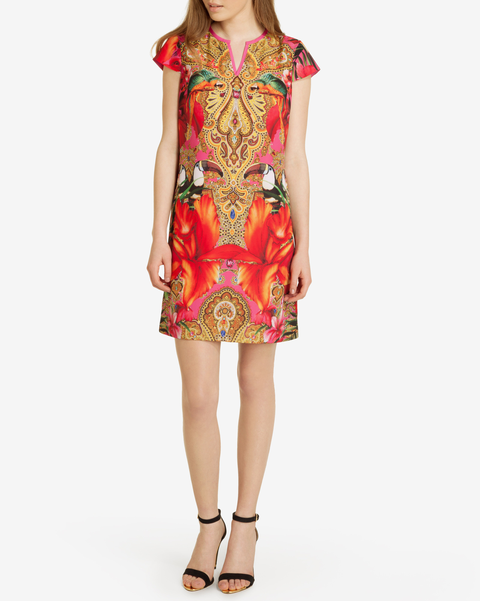 201ab4b1f3eebe Lyst - Ted Baker Paisley Toucan Tunic Dress in Pink