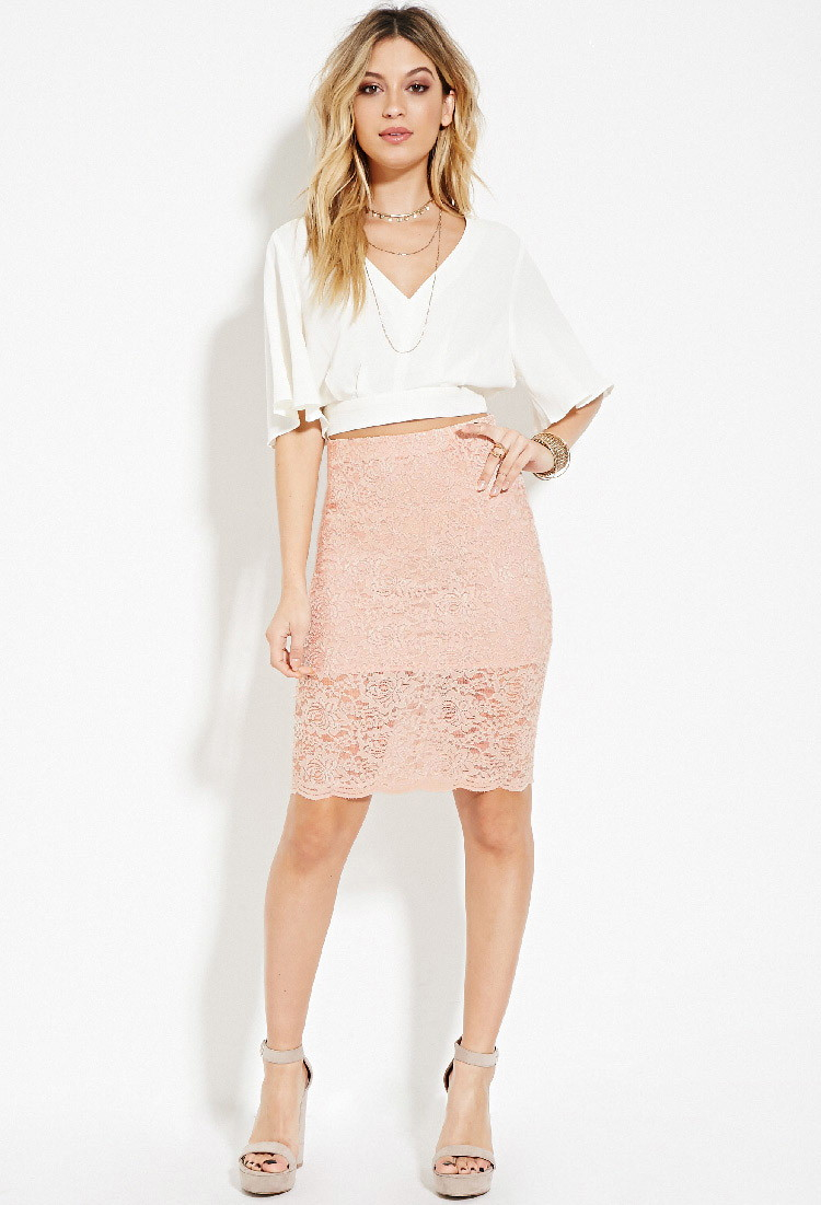 Forever 21 Lace Pencil Skirt in Pink | Lyst