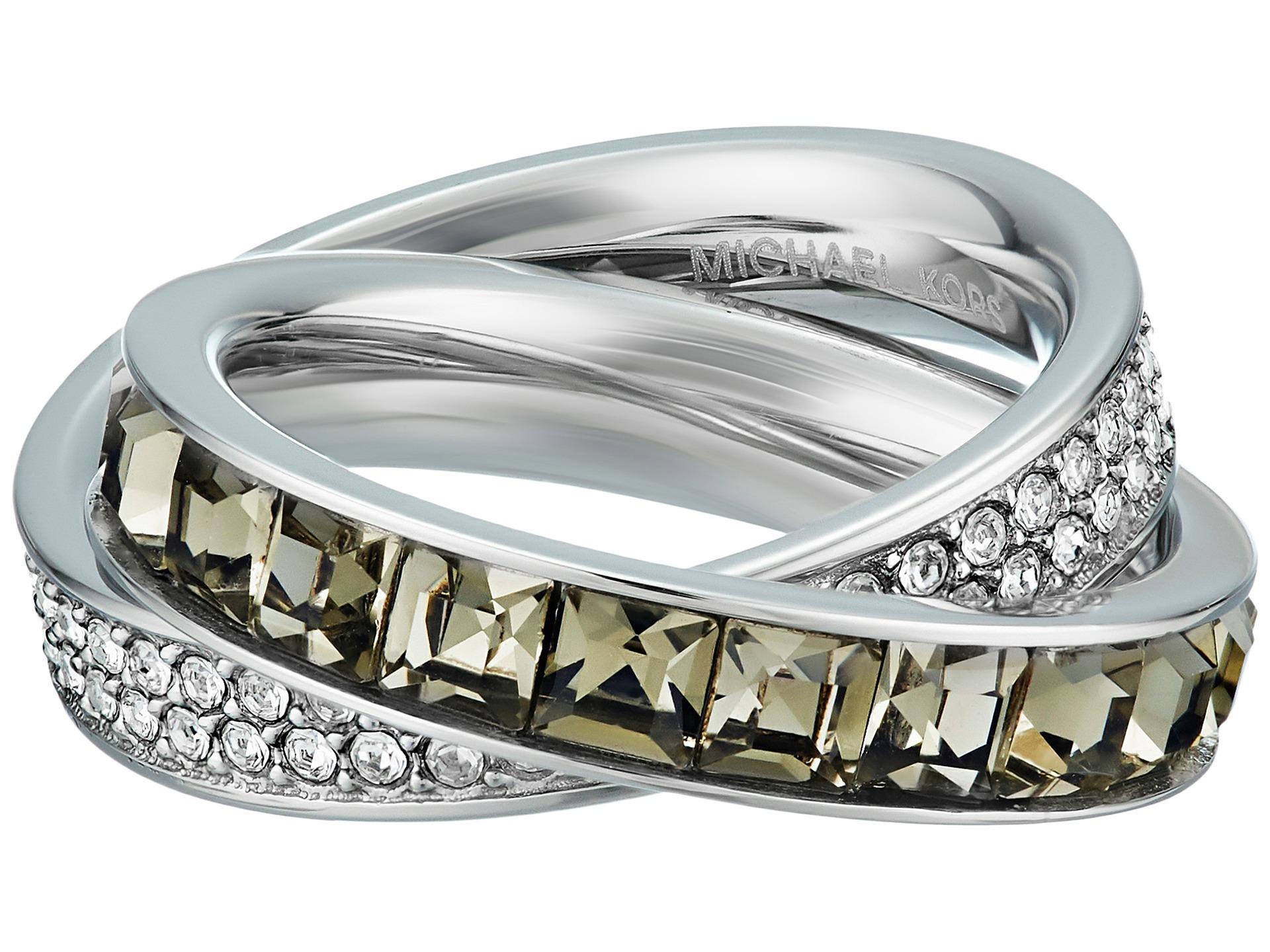 michael kors cubic zirconium interlocking ring in metallic lyst. Black Bedroom Furniture Sets. Home Design Ideas