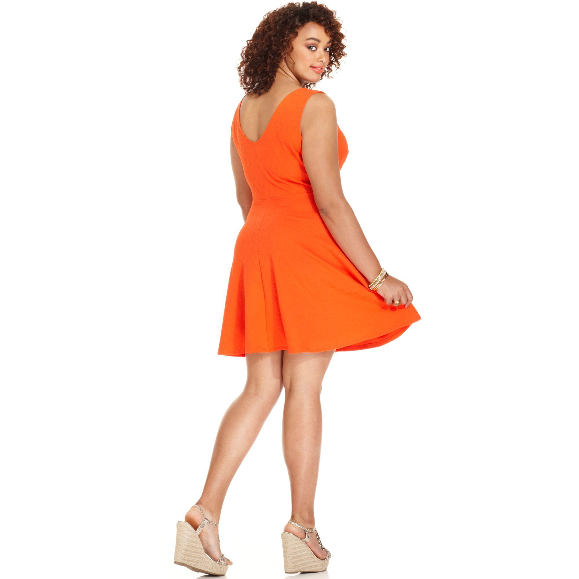77b957142d Soprano Plus Size Sleeveless Skater Dress in Orange - Lyst
