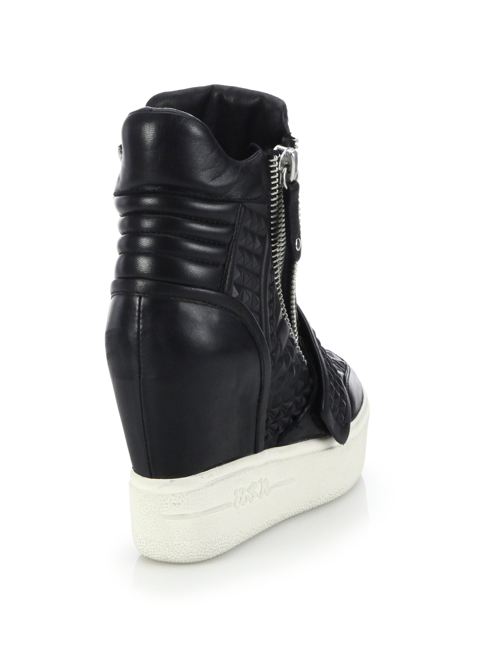 Lyst - Ash Action Embossed Leather Wedge Sneakers in Black