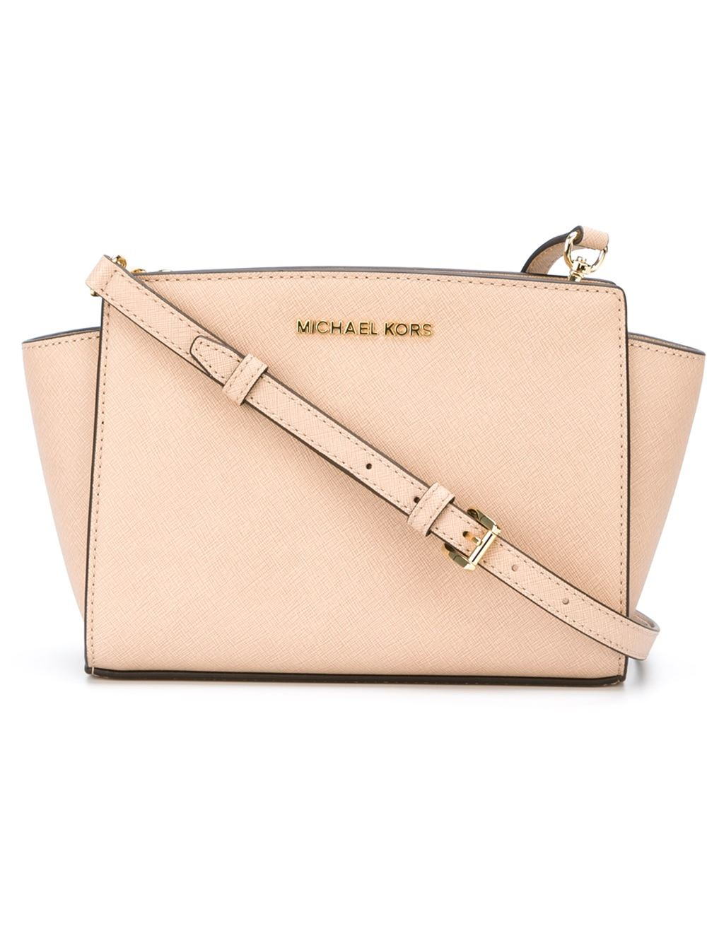 19654be449396 ... cheapest lyst michael michael kors selma cross body bag in pink 47178  cb3cd