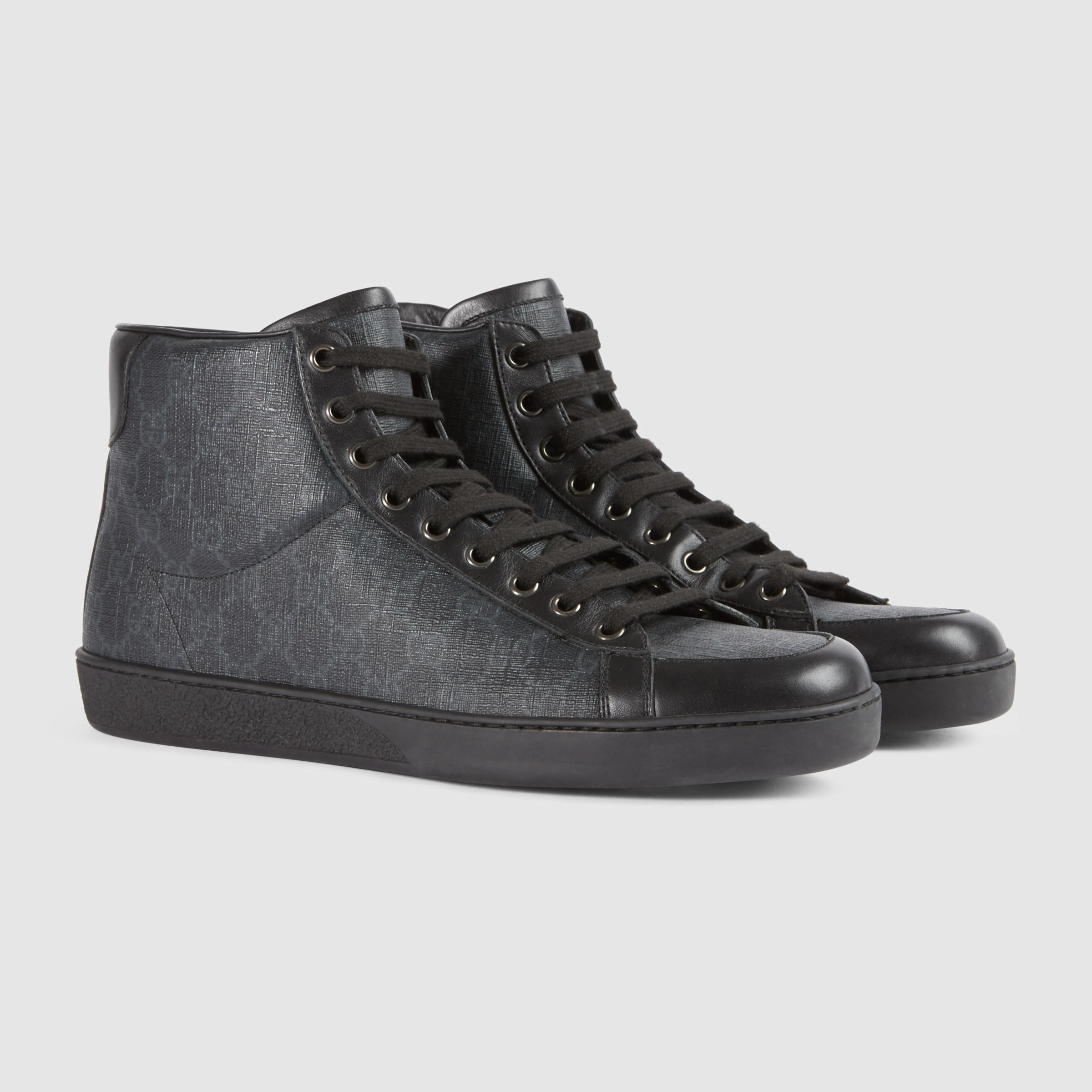 dbbbae81591 Lyst - Gucci Gg Supreme High-top Sneaker in Gray for Men