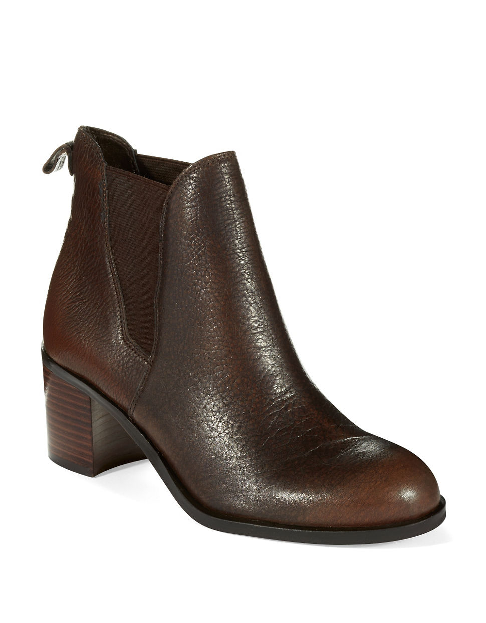Sam Edelman Justin Short Leather Boots in Brown - Lyst 9a1aa4085