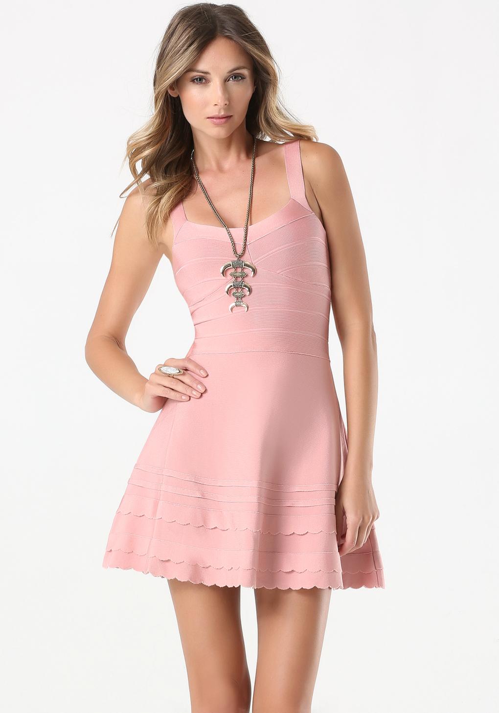 Bebe Pink Flared Bandage Dress Lyst