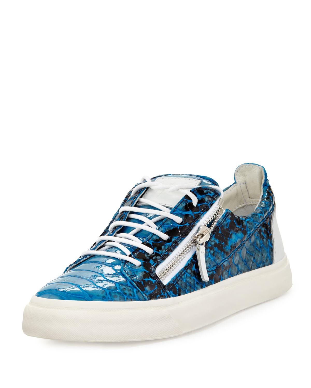 Lyst Giuseppe Zanotti Zip Pythonprint Lowtop Sneaker