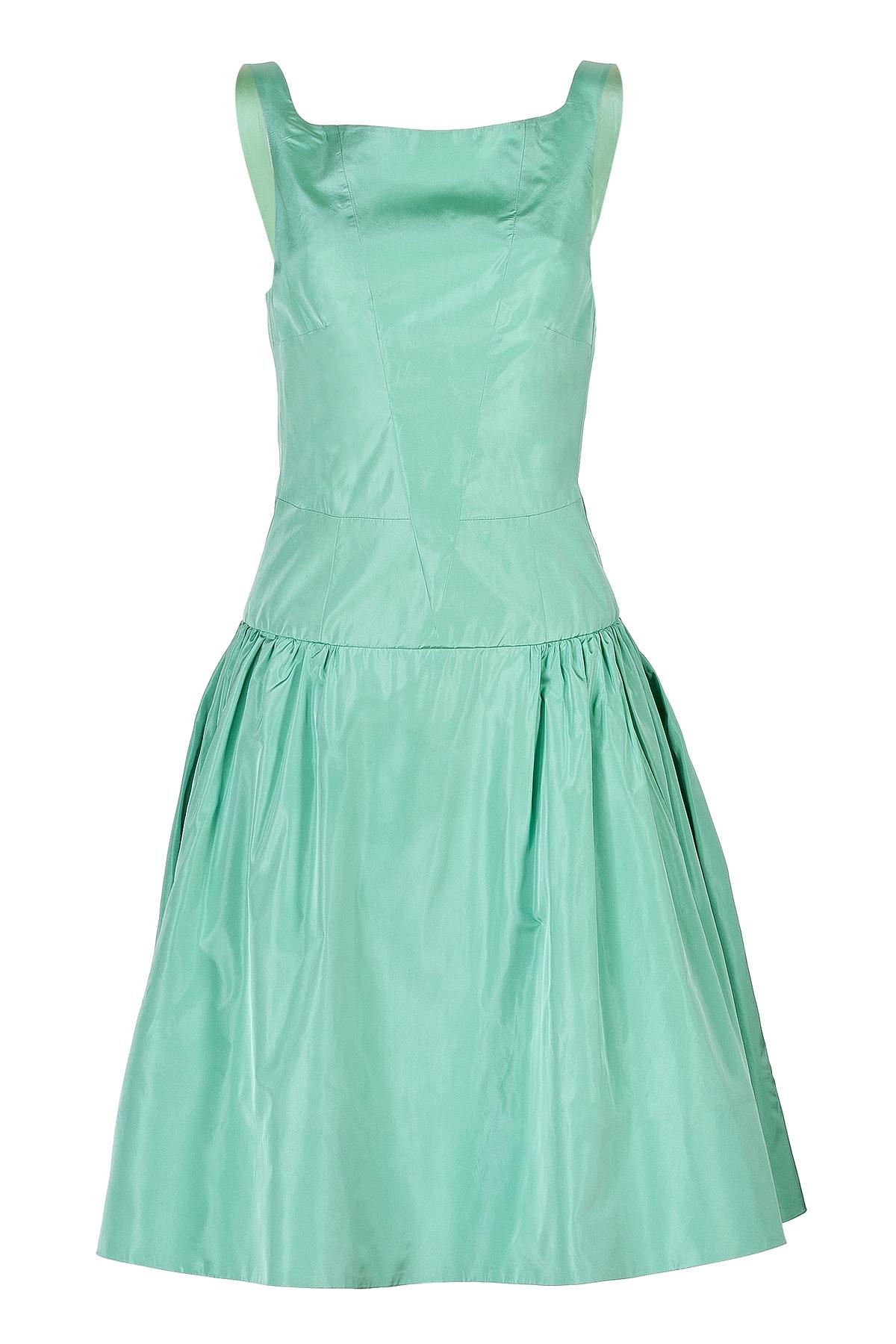 Lyst - Rochas Silk Taffeta Flared Dress In Mint - Turquoise in Green