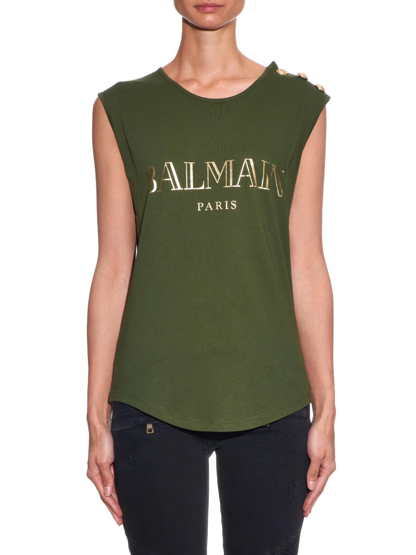 e90484e1a95d7b Lyst - Balmain Logo-print Cotton-jersey Tank Top in Green