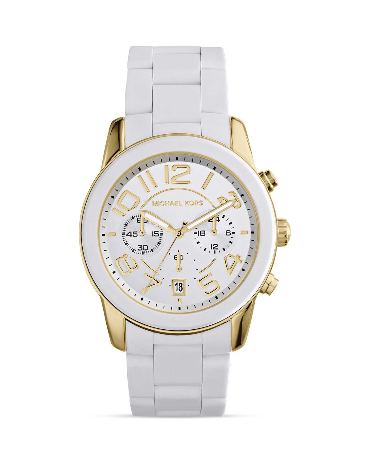 michael kors white silicone and gold tone mercer watch