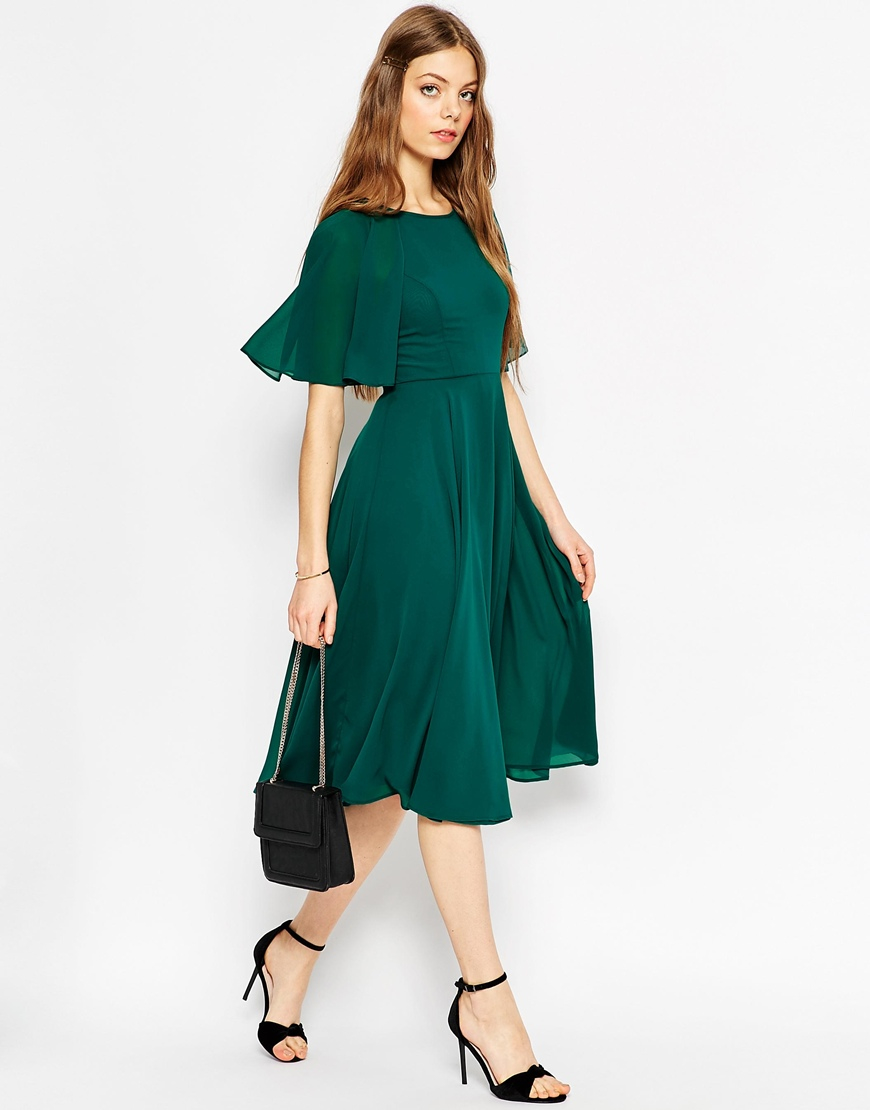 asos lace up back kaftan sleeve midi dress in green lyst. Black Bedroom Furniture Sets. Home Design Ideas