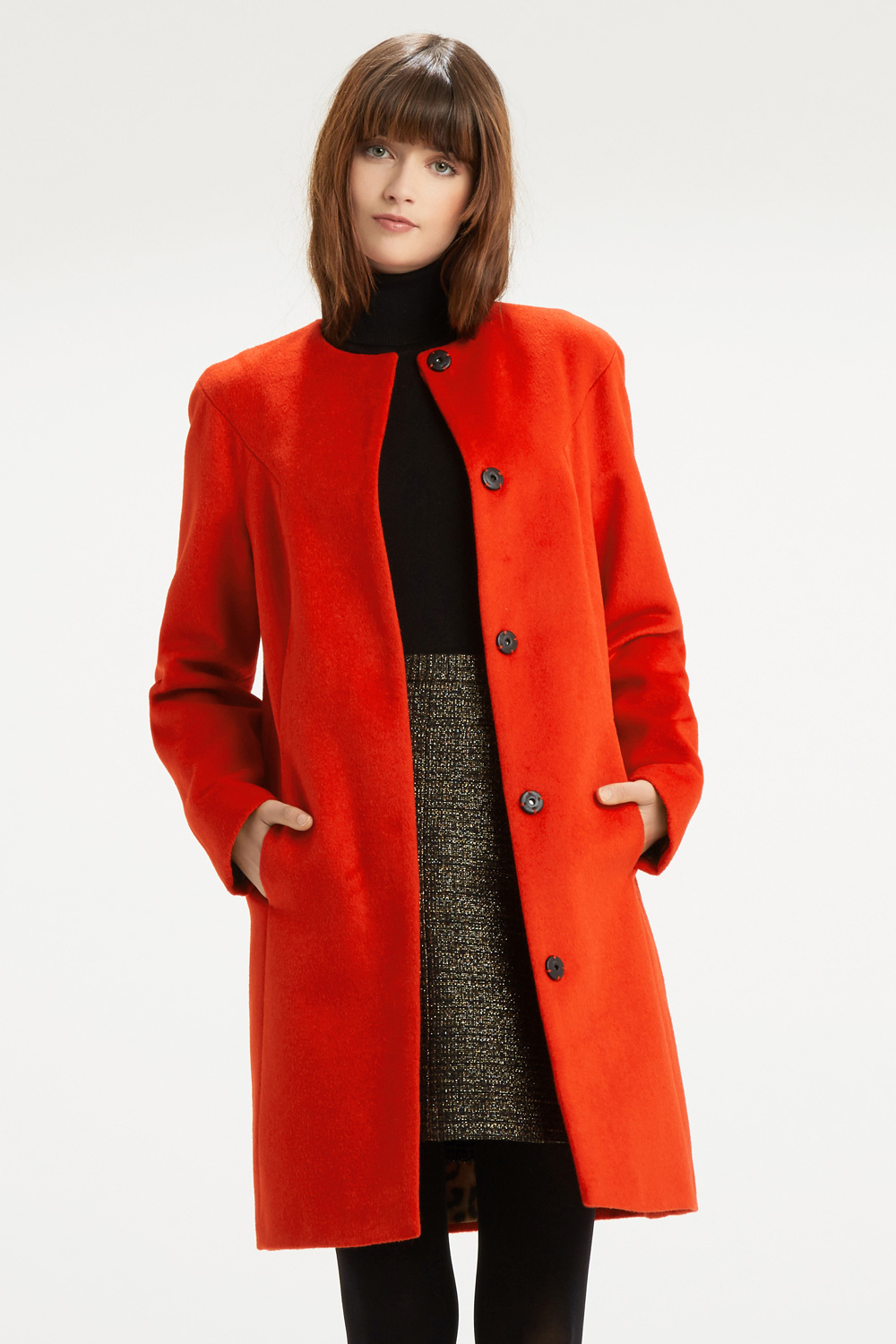 Oasis Stephanie Collarless Coat in Red | Lyst