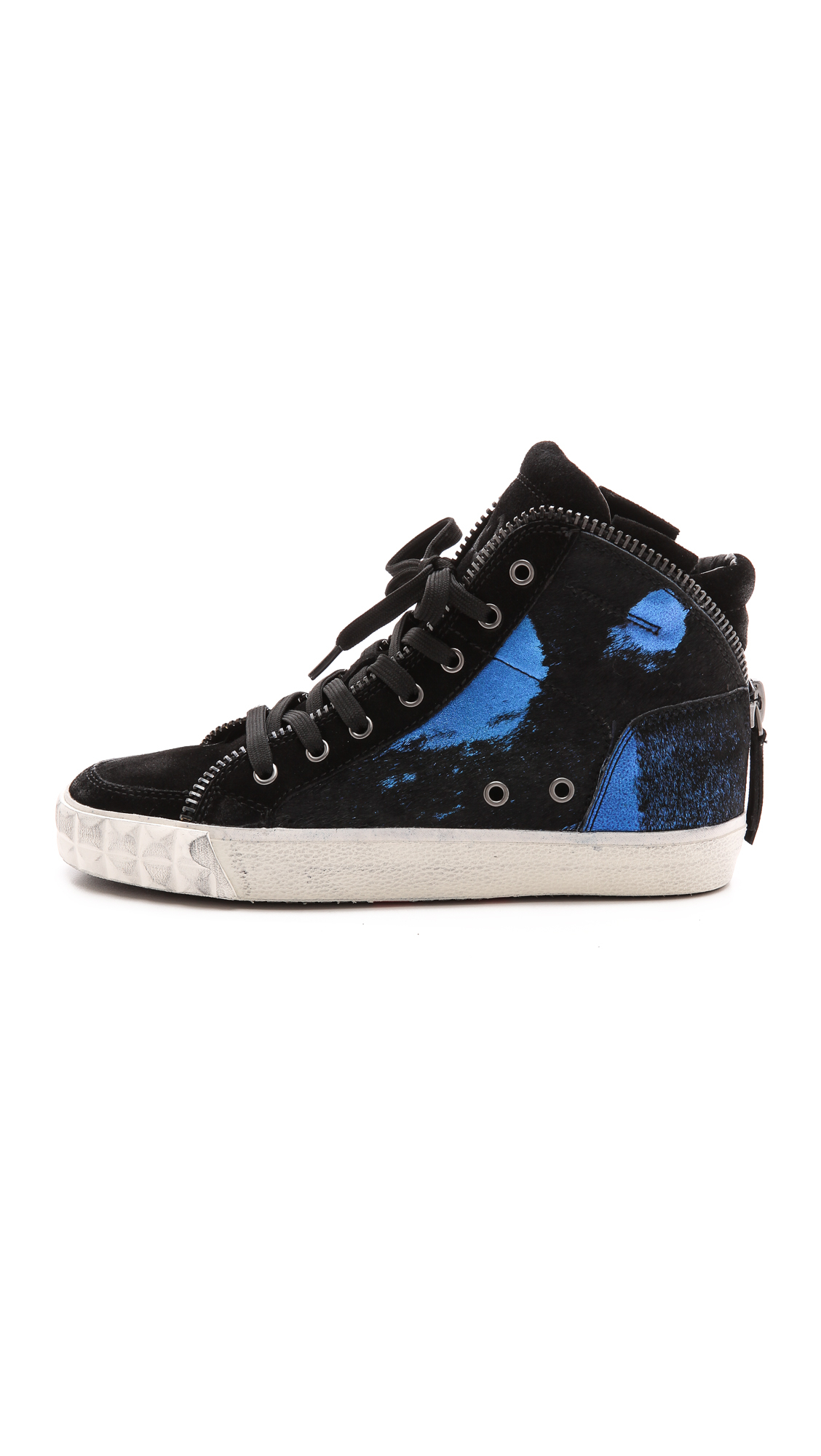 ash shake bis haircalf high top sneakers black black blue black in blue black black blue. Black Bedroom Furniture Sets. Home Design Ideas