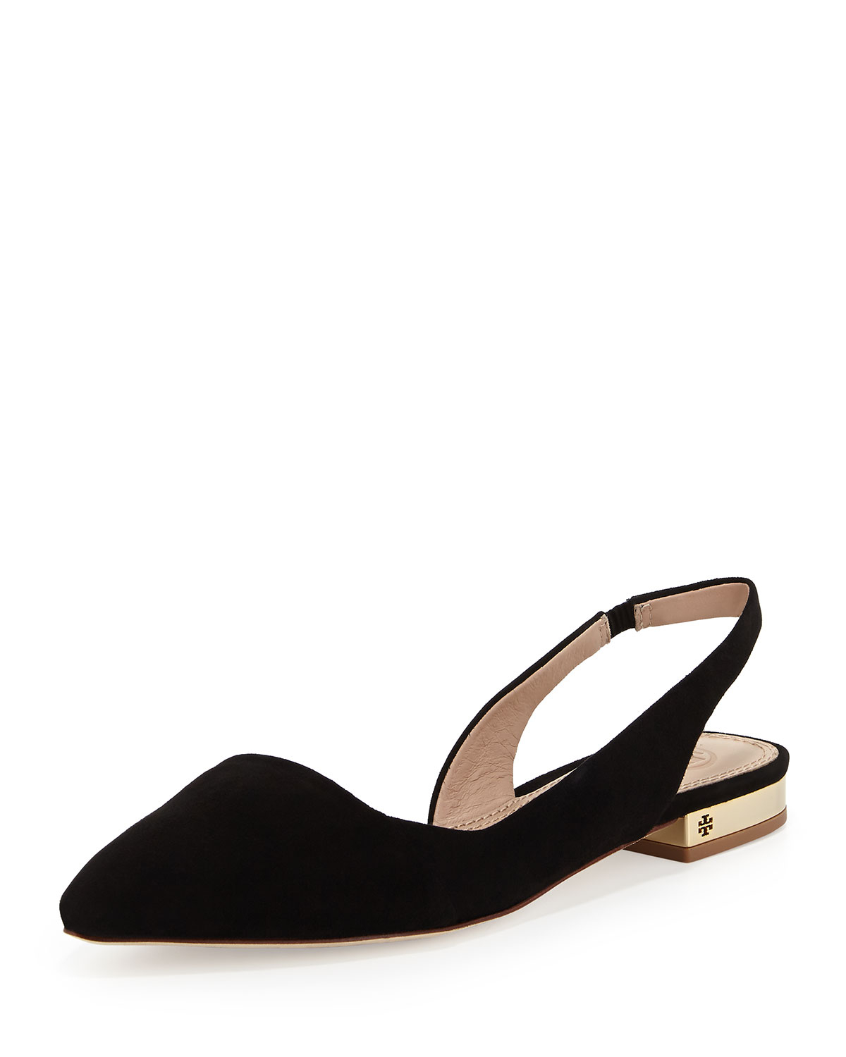 89051b827e375 Tory Burch Classic Point-Toe Slingback Flat in Black - Lyst