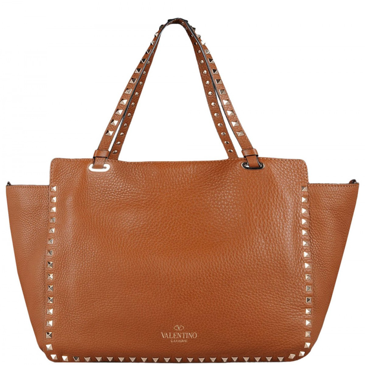 "Valentino Brown Leather Medium ""rockstud"" Bag in Brown 