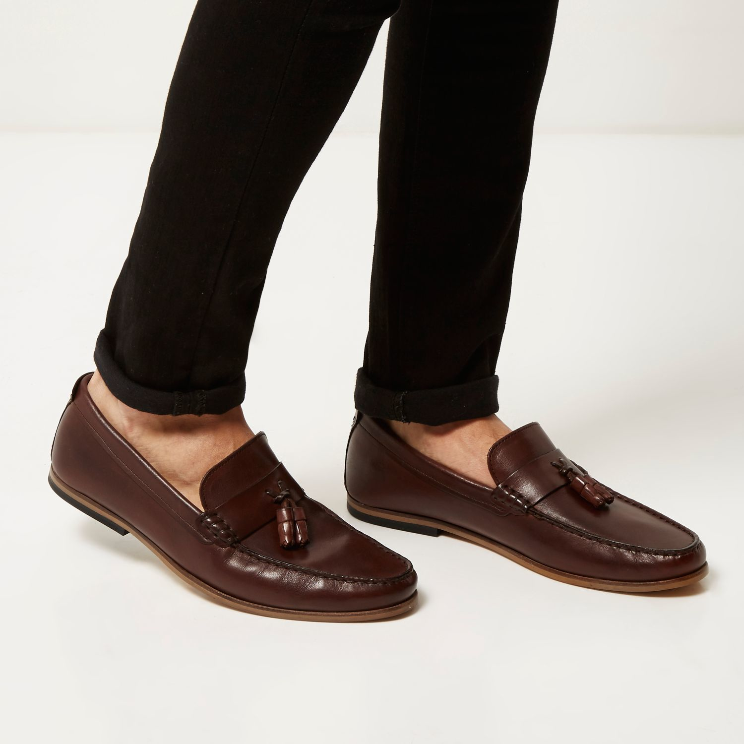 76b2e457bc4 Lyst River Island Dark Brown Leather Tassel Loafers In Brown For Men