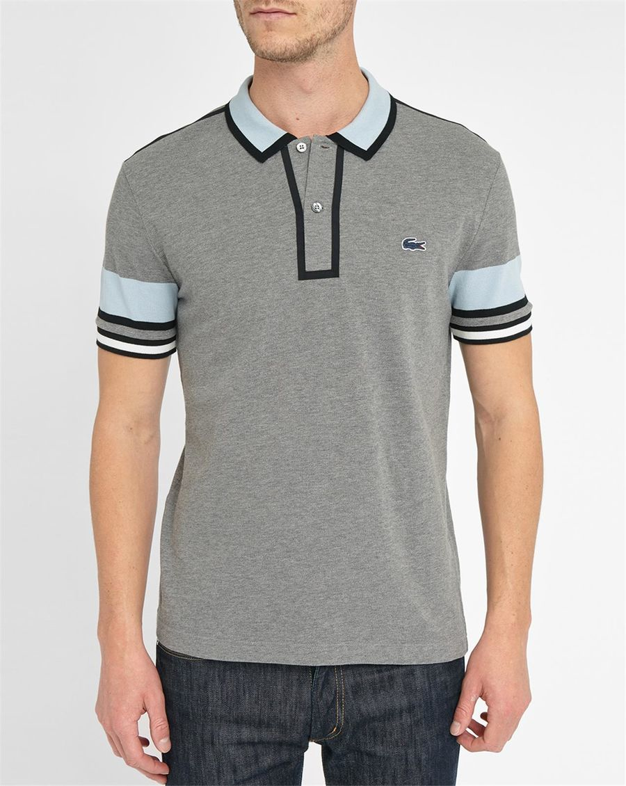lacoste grey and sky blue two toned made in france polo shirt in gray for men lyst. Black Bedroom Furniture Sets. Home Design Ideas
