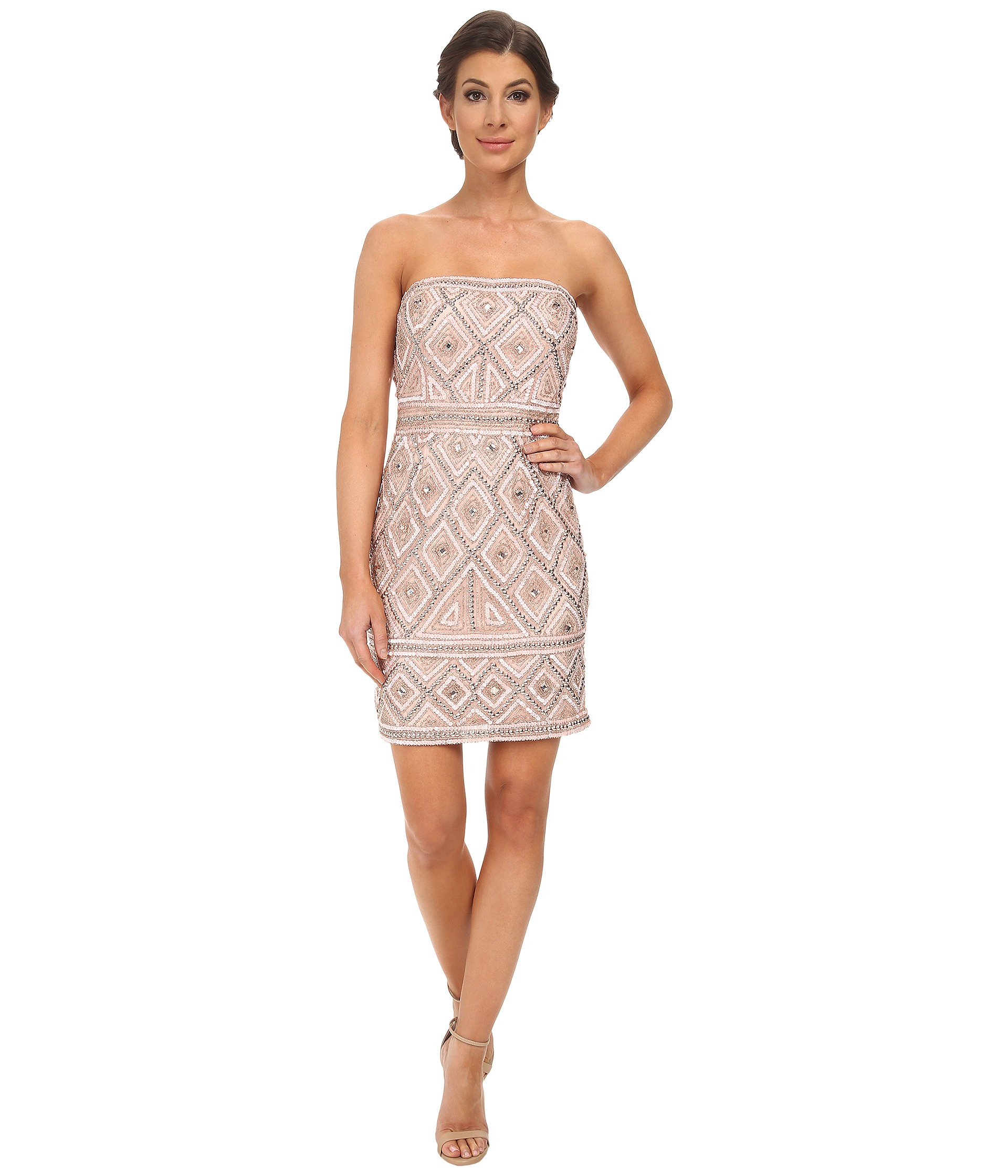 e699902db37a Adrianna Papell Strapless Beaded Dress in Pink - Lyst