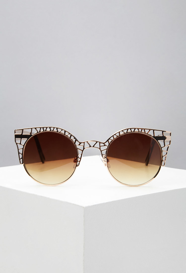 Forever 21 Cutout Cat Eye Sunglasses In Metallic Lyst