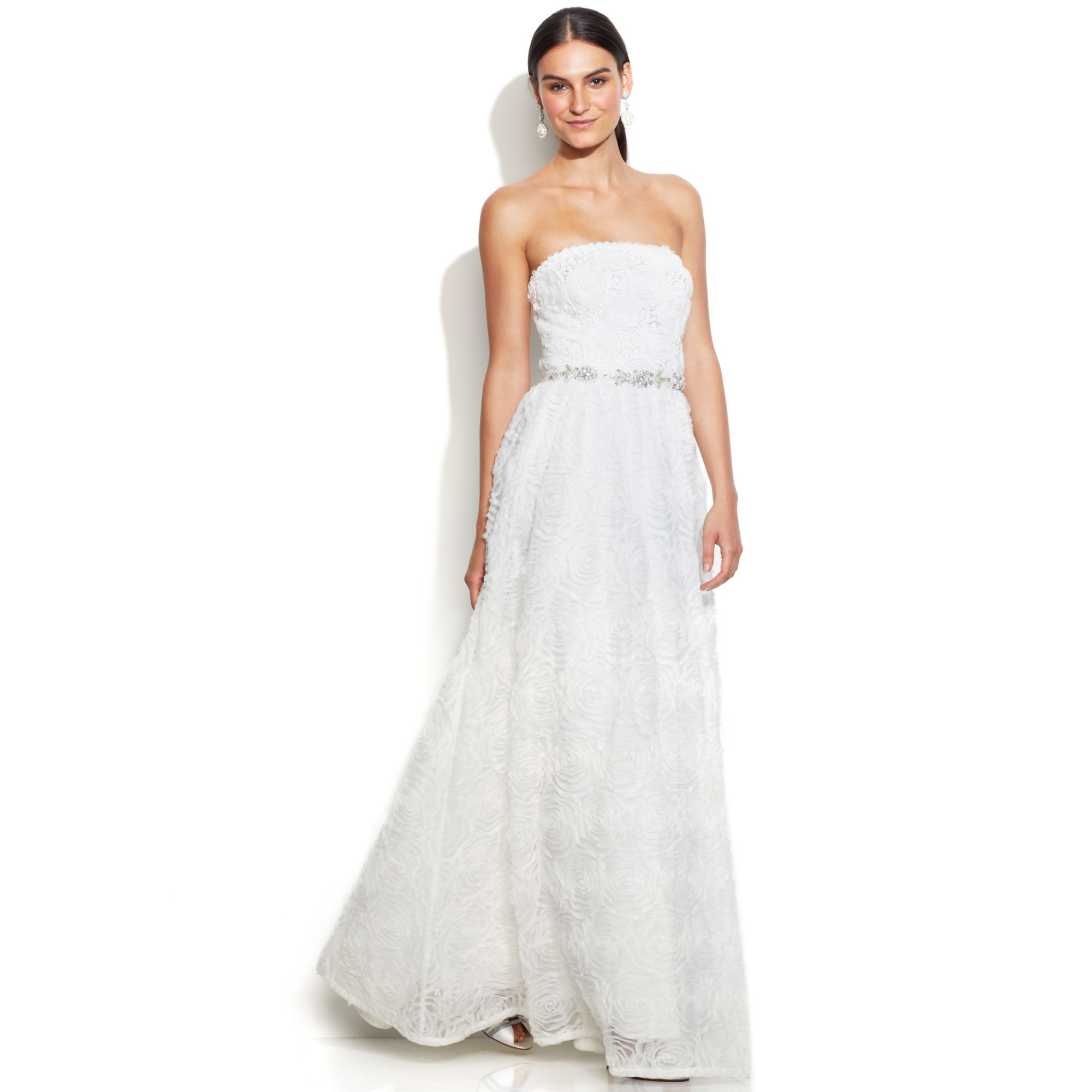 Lyst - Adrianna Papell Strapless Beaded Ball Gown in White