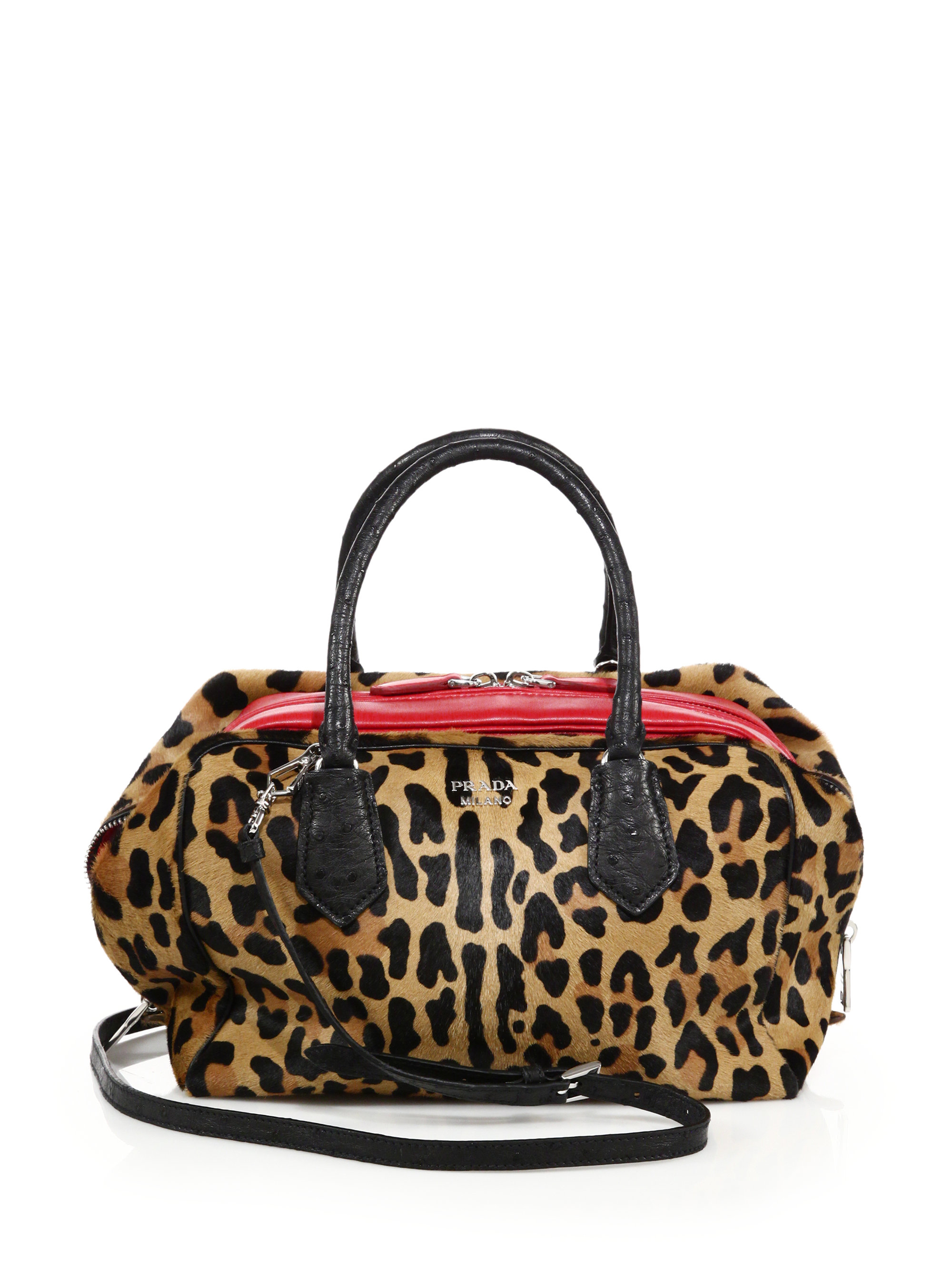 09aaaa6b83c8 Prada Leopard-print Calf Hair, Ostrich & Leather Inside Bag - Lyst