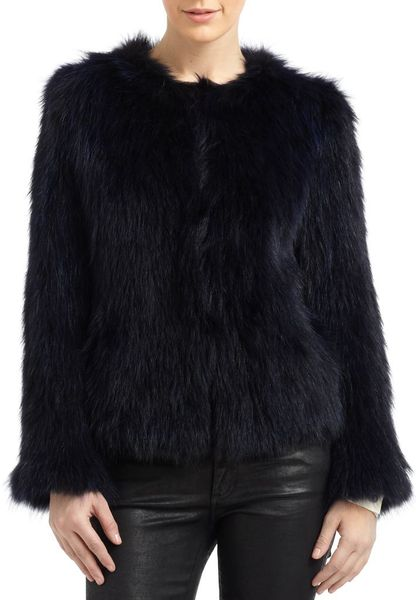 Sachin & Babi Isla Raccoon Fur Jacket in Blue (midnight)