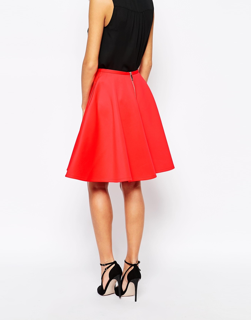 6bf03fd3c9dba Lyst - Ted Baker Skater Skirt With Pockets in Red