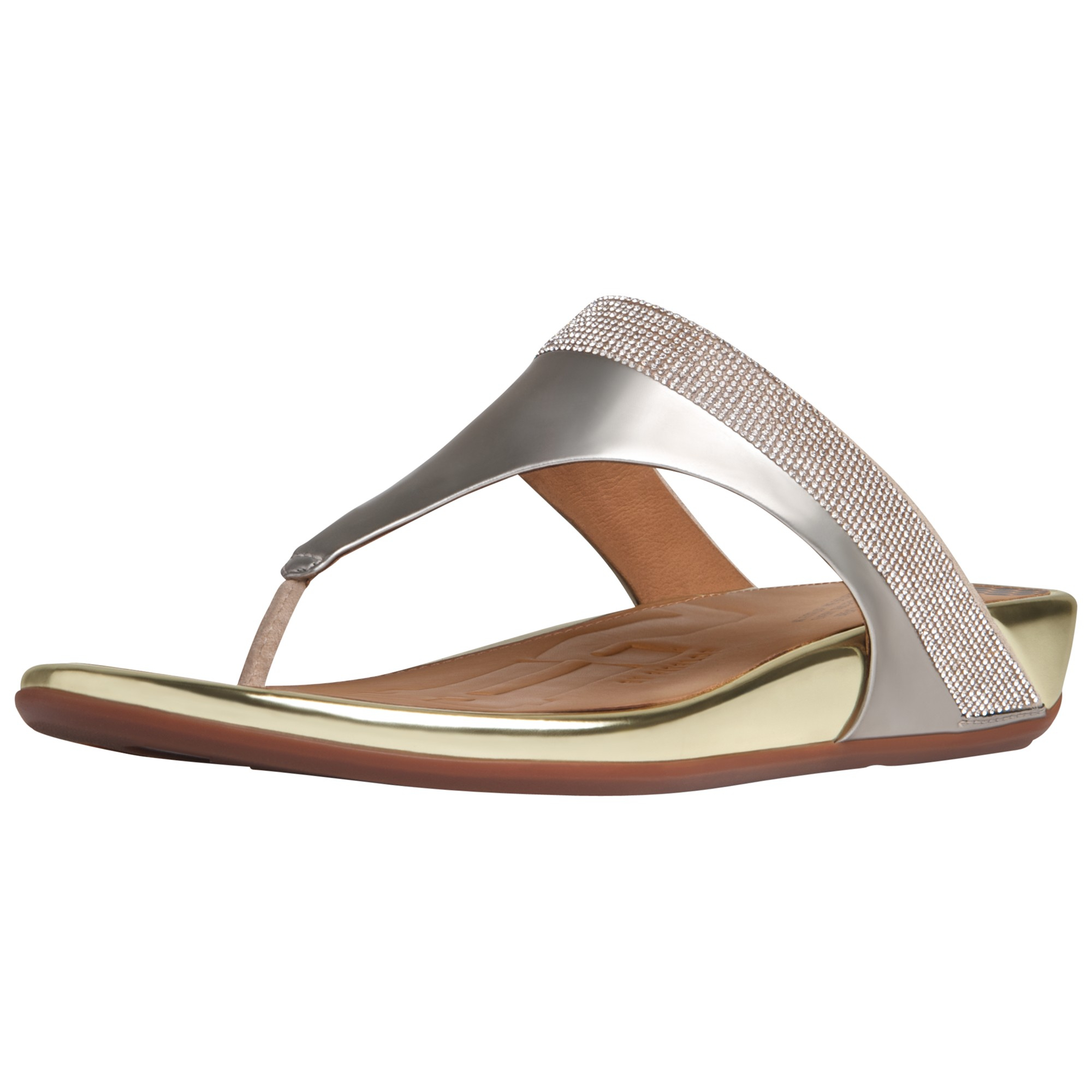 f339c506f4b3c Fitflop Banda Crystal Leather Toe Post Sandals in Metallic - Lyst
