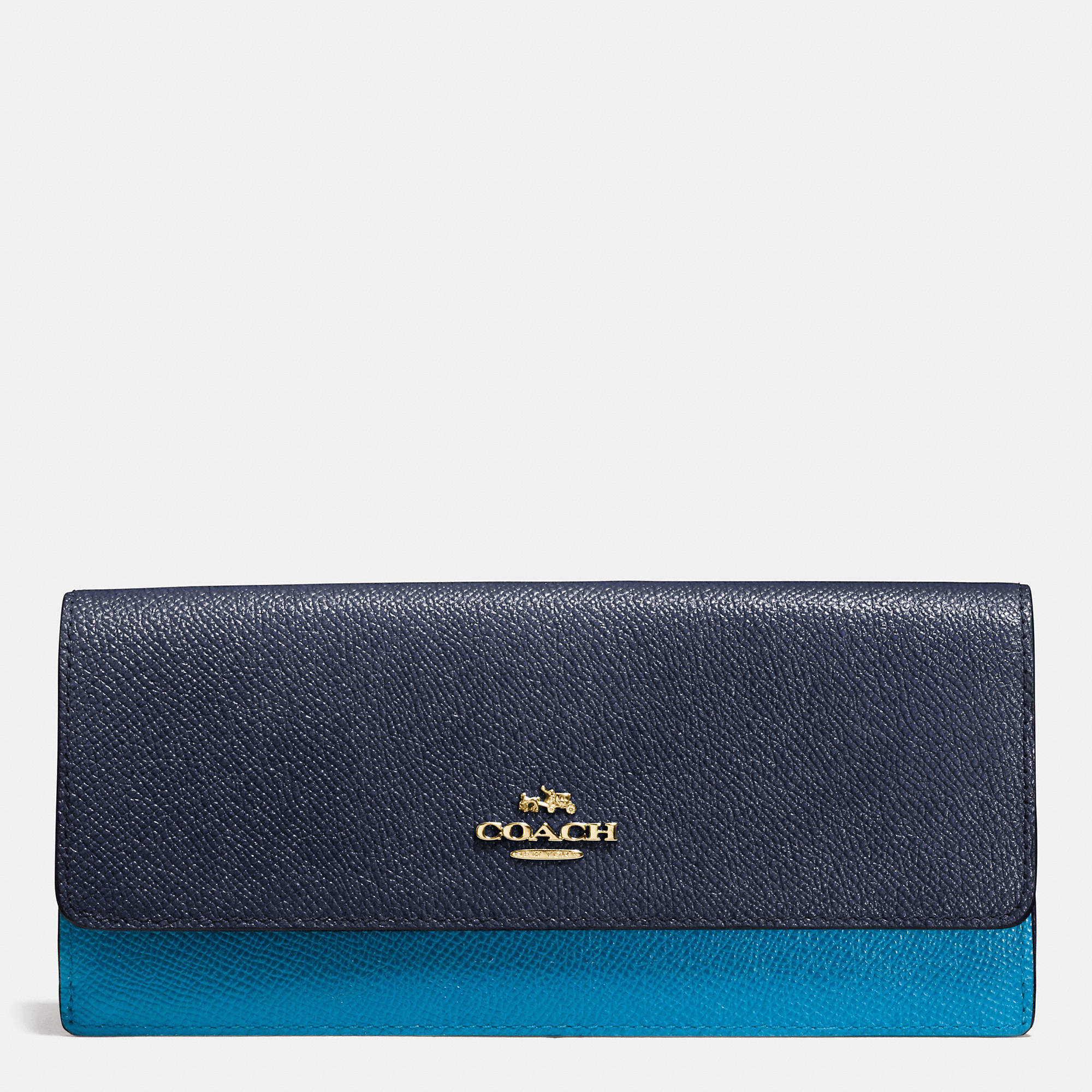 fc27e98b6c04 ... official lyst coach gift boxed soft wallet in colorblock leather in  blue 05403 00cc6