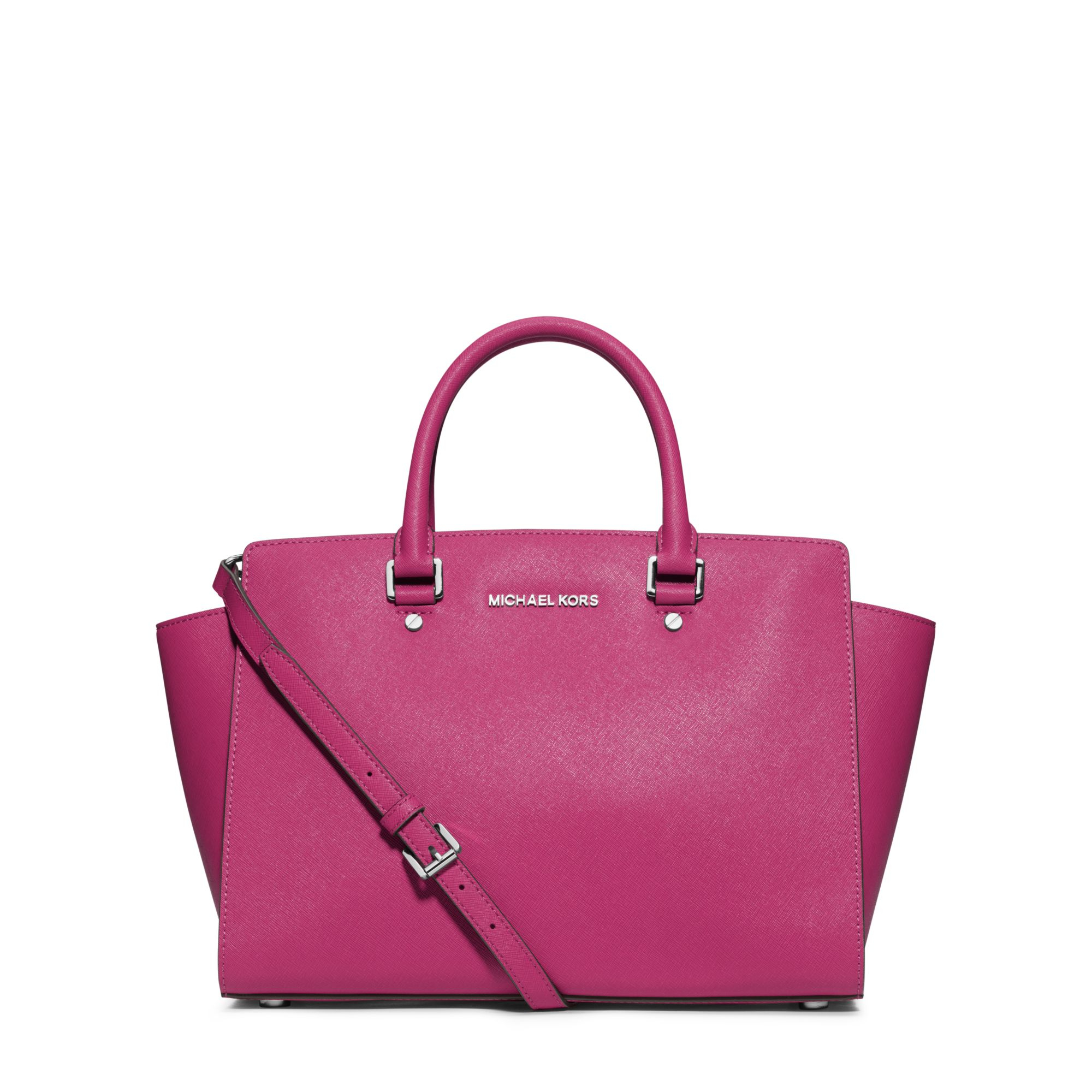 0d716225fbdb Lyst - Michael Kors Selma Large Saffiano Leather Satchel in Pink