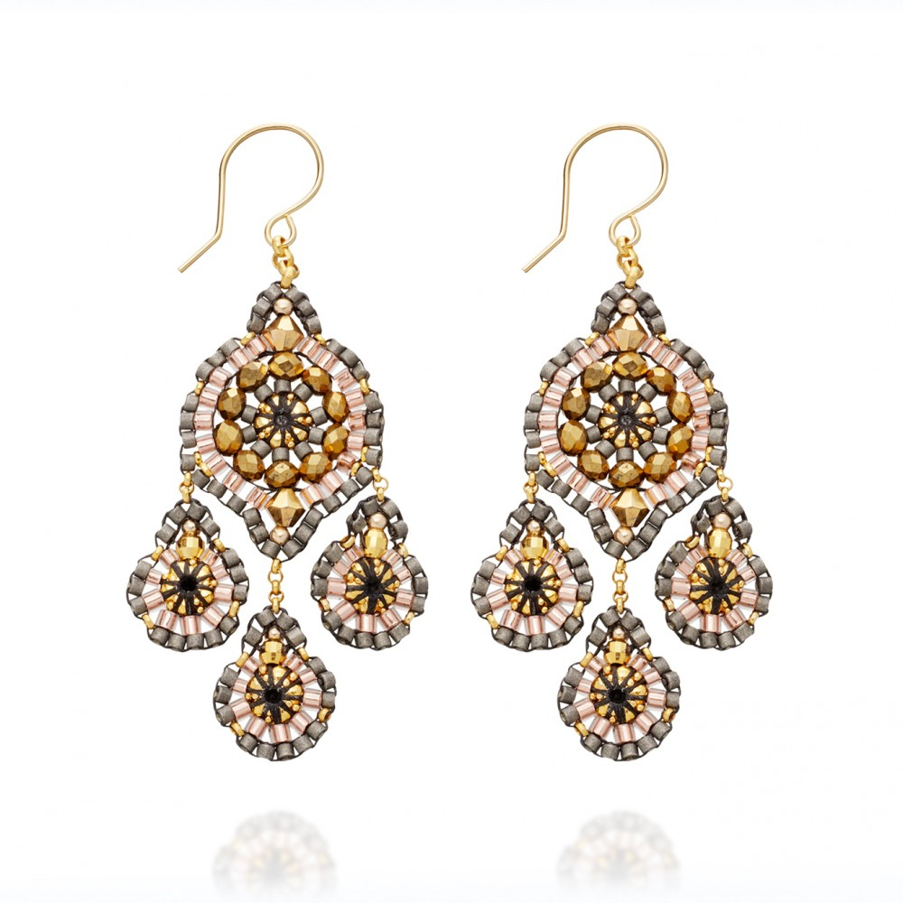 Red Diamond Chandelier Earrings: Miguel Ases Silver Chandelier Earrings In Yellow